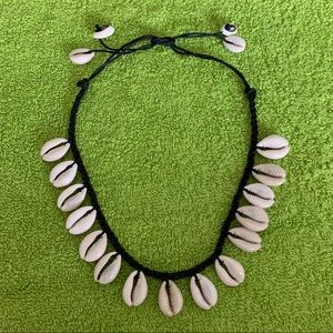 Shell Necklace with Braided Black Twine